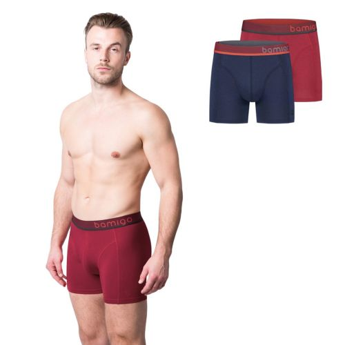 Bamigo Paul Slim Fit Boxershorts Marine-Rot (2-er Pack)