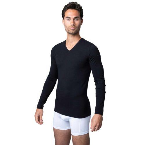Bamigo Davis - T-shirt Manches Longues Slim Fit Col en V Noir