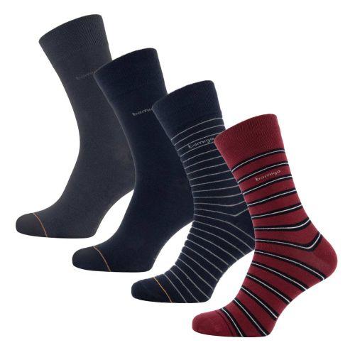 Bamigo James Socks Navy-Bordeaux Striped (4-pack)