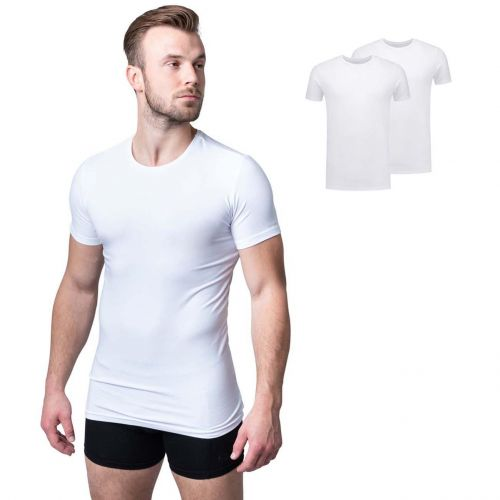 Bamigo Evans Lightweight Slim Fit T-shirts Round Neck White (2-pack)