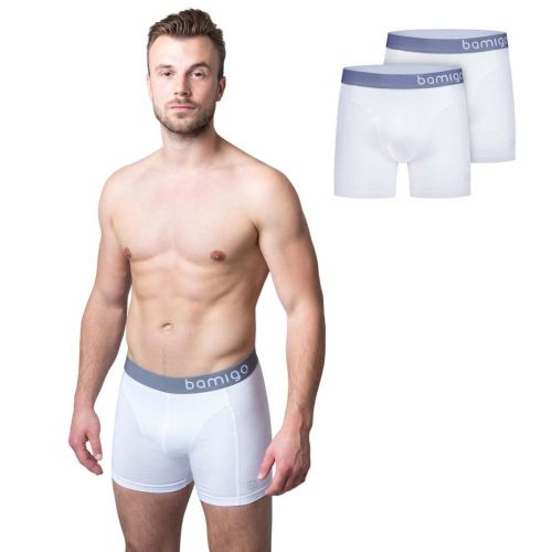 Bamigo Paul - Boxers longs slim fit Blanc (Lot de 2)