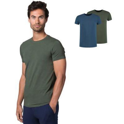Bamigo Adams Loose Fit T-Shirts Rundhals Grün-Denim (2-er Packung)