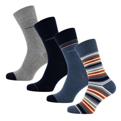 Bamigo James Socks Multi-Stripe Rust Brown (4 pairs)