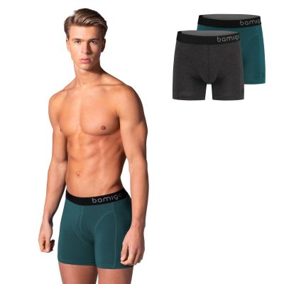 Bamigo Paul Slim Fit Boxershorts Groenblauw-Antraciet (2-pack)