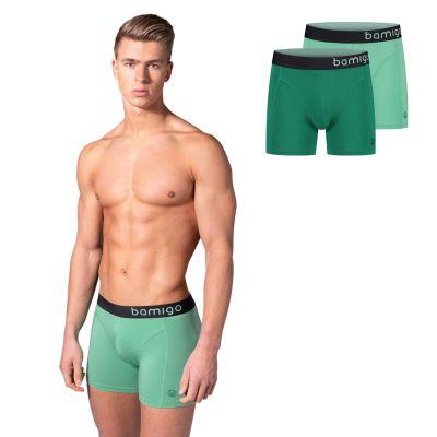 Bamigo Paul Slim Fit Boxershorts Hellgrün-Grün (2-er Pack)