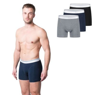 Bamigo Paul Slim Fit Boxershorts Grijs-Navy-Zwart (3-pack)