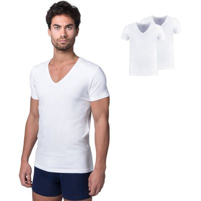 Bamigo Watson Loose Fit T-shirts Deep V-neck White (2-pack)