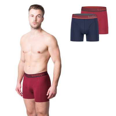 Bamigo Paul Slim Fit Boxershorts Navy-Rood (2-pack)