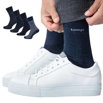 Bamigo James Socken Streifen Denimblau (4-er Pack)