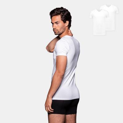 Bamigo Johnson Slim Fit T-shirts V-neck White (2-pack)