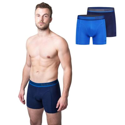 Bamigo Paul - Boxers longs slim fit Bleu (Lot de 2)