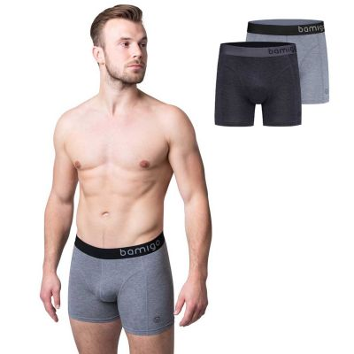 Bamigo Paul Slim Fit Boxershorts Grau (2-er Pack)