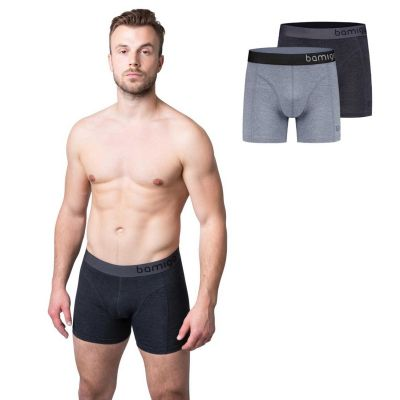 Bamigo Paul - Boxers longs slim fit Gris (Lot de 2)