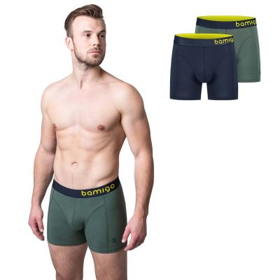 Bamigo Paul - Boxers longs slim fit Vert Olive-Graphite (Lot de 2)