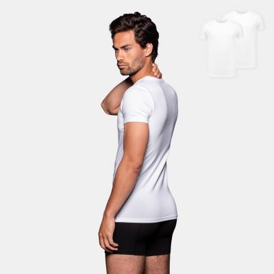Bamigo Smith Slim Fit T-shirts Round Neck White (2-pack)