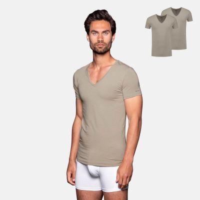 Bamigo Williams Slim Fit T-shirts Deep V-neck Khaki (2-pack)