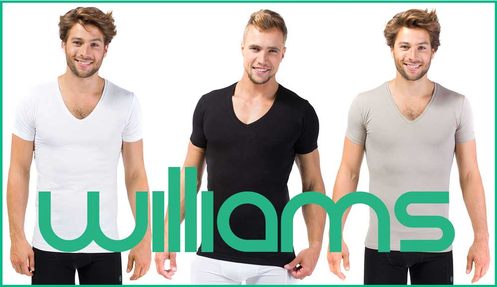 T-shirts Williams Slim Fit Blanc col profond en V